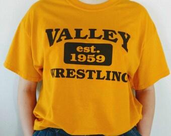 Graphic Sports T-shirt Valley Wrestling Gold Blue Oversized Cropped T Shirt Night Shirt Men Women Unisex Large Old School Tee Street Wear