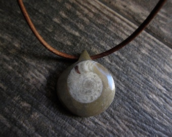 Men's Necklace,Mens Leather Necklace,Fossil Necklace,Ammonoid Pendant,Leather Necklace,Mens Jewelry,Stone Mens Necklace,Nautilus Man Jewelry