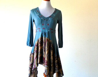 XS-S Blue Cornflower Country Tea Length Stevie Nicks Dress gypsy clothing lagenlook teen dress handmade hippie boho chic wearable art