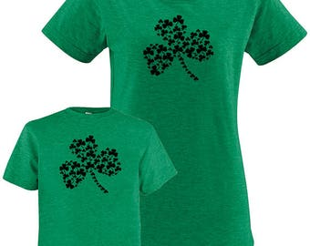 St Patricks Day Shamrocks Matching Mother Child Shirts, Mother Daughter, Mother Son, Mother Baby Mom and Kid shirt, Saint Patrick's Gift