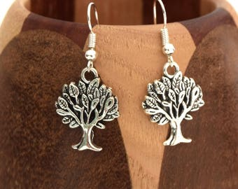 Tree of life earrings silver, tree of life silver clips
