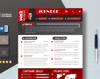 Resume Template / CV Template + Cover Letter | Instant Digital Download | MS Word