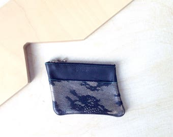 mini zip purse in black leather & mint colour edges/ front pocket with silver lace print / coin purse / mini wallet / zip pouch