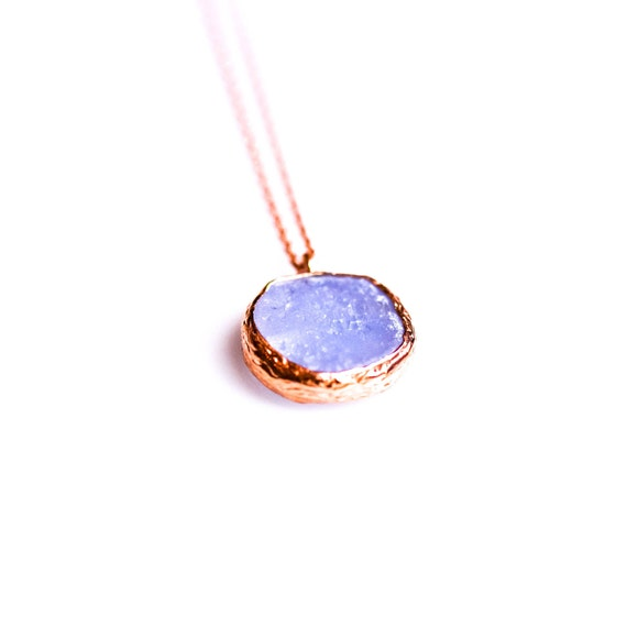 Silver Drusy Blue Chalcedony Pendant, Rose Gold Necklace ,Circle, Minimalist Necklace,Dainty Necklace, Druzy, Gift For Her