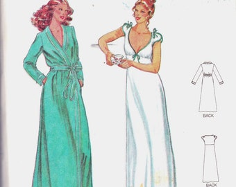 Vintage Butterick 6370 Size 14 NIGHTGOWN & ROBE Empire Waist  by John KLOSS Quick Butterick Sewing Pattern
