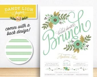 Mint Floral Bridal Shower Brunch Digital Invitation - DIY Printable