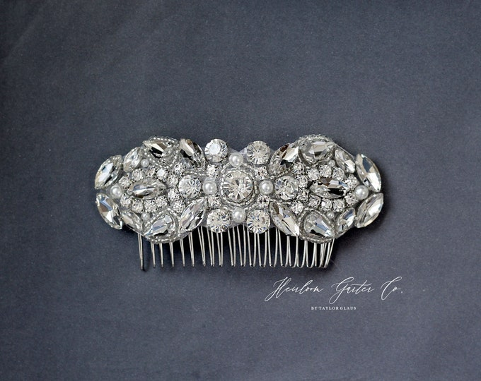 Wedding Hair Comb, Pearl and Rhinestone, Bridal Headpiece, Rhinestone Hairpiece, Hair Tiara, Hair Jewelry, Bridesmaid, Hair Accessory, 63S