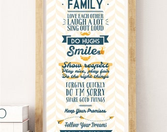 Family Rules Sign, House Rules Poster, Digital Print, Wall-Art, Home Decor, Gift