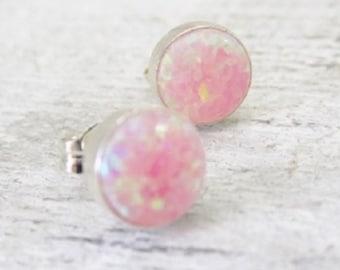 Pink Opal Stud Earrings, Sterling Silver Round Opal Earrings,Small Pink Fire Opal Earrings,Tiny Opal Earrings,Pink Opal Jewelry,Gift For Her