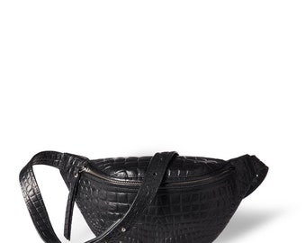 Fanny pack 'Niki' small black vegetable tanned leather with croco print and antique golden zippers