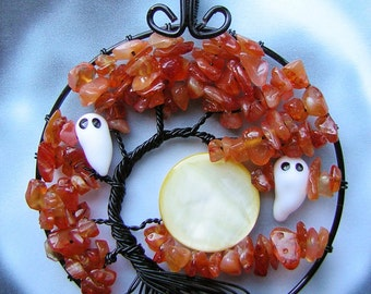 Halloween Spooky Ghost Carnelian Tree of Life Wire Wrapped Pendant Jewelry