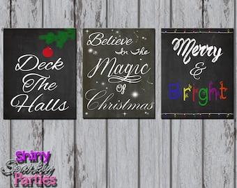 CHRISTMAS CHALKBOARD PRINTABLE - Christmas Party Decor - Chalkboard Christmas Signs - Christmas Party Signs - Diy Christmas Decoration Art