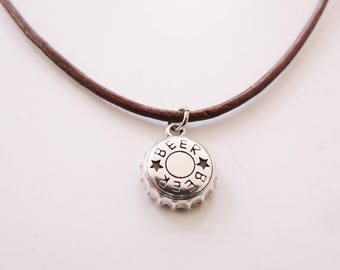 FREE SHIPPING - Beer cap men's necklace - Beer cap necklace on leather cord - Beer cap jewelry necklace - Beer jewelry - Beer cap necklace