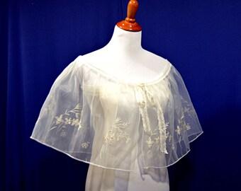 Sheer Bridal cape, Embroidery cape, embroidery wrap, women lace boleros, white women shawl, lady capelets, wedding dress wrap