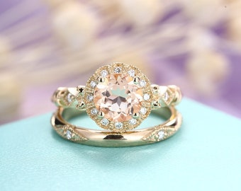Morganite engagement ring Vintage wedding band Women Antique Diamond Art deco Milgrain Halo Bridal set Jewelry Anniversary gift for her