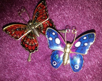 Two Gorgeous Gold Tone and Enamel Butterfly Brooches