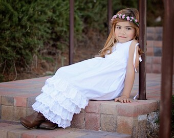 Girls White Ruffle Dress