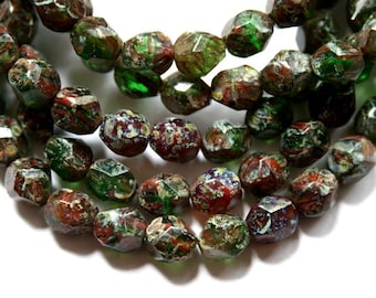 25 Red and Green Authentic Czech Potato Picasso Faceted Beads