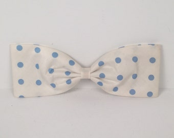 Vintage White Hair Bow with Light Blue Polka Dots