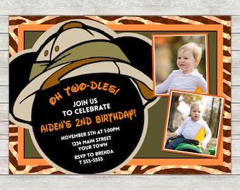 Mickey Mouse Safari Birthday Invitation, Safari Mickey Mouse Birthday Invitation - Digital File (Printing Services Available)