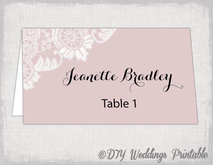 Wedding Place Card Template Blush Pink DIY Name Cards