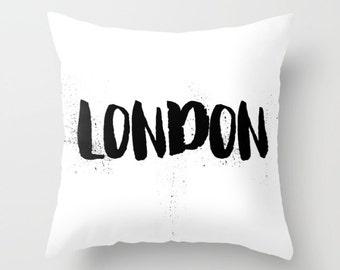 Velveteen Pillow - London Pillow - London Decor - Black and White Pillow - Modern Decorative Pillow - London Cushion Cover - Gift Ideas