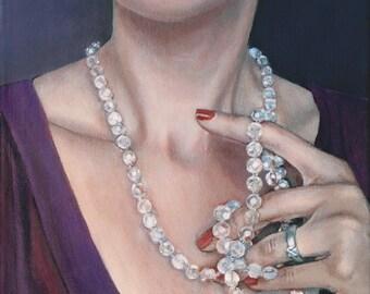 Art Print Reproduction // Waiting // From Original Acrylic Painting // Portrait Art // 22 cm x 17 cm // Cynthia Katz