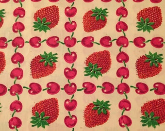 red cherry and strawberry large print nos fabric remnant--2yards