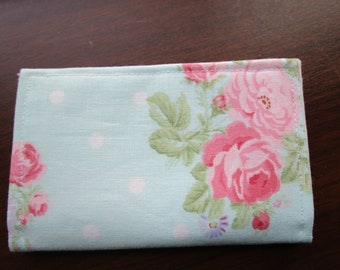 Wallet, Travel, Minimalist Wallet, Business Card Holder, Travel Wallet, Small Wallet, Fabric Wallet, Credit Card Wallet, Tea Wallet, Roses