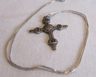Sterling Silver Cross and Chain Necklace