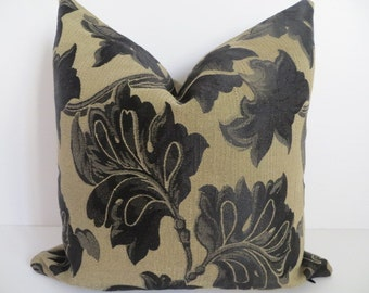 Pillow Covers- Black Leaf Pillow - Leaf Pillow Cover - Black Green Pillows- Pillow Covers
