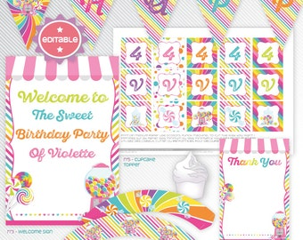 Sweet Candy Shop - Pink editable printable party decoration package - INSTANT DOWNLOAD - A4 & LETTER