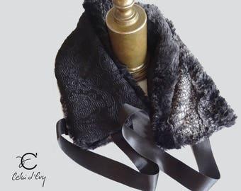 Small black fur collar