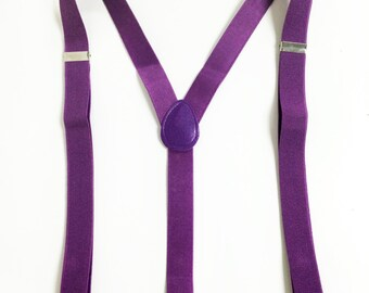 Men's Suspenders, plum, purple suspenders - for children 6+, teens and adults. suspenders for celebrations, costumes, daily wear
