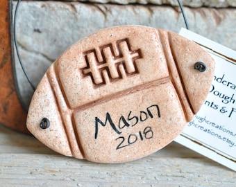 Personalized Football Salt Dough Child's Ornament