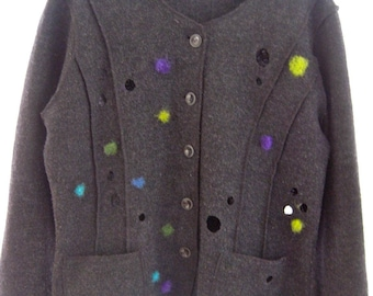SALE! Gray up cycled boiled wool jacket, unlined wool funky coat, needle felted polka dot contemporary artsy jacket, modern designer M/L