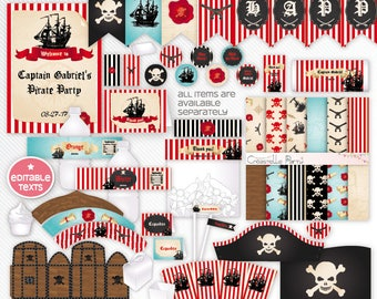Red Pirate party decorations - editable package -  pirate printable decoration set - boy pirate party - INSTANT DOWNLOAD