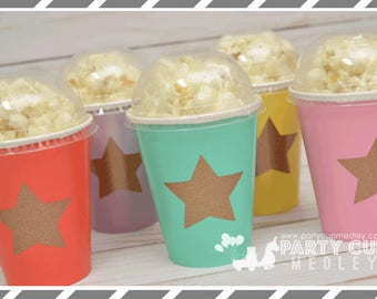 Twinkle Star Birthday Party Favor Cups, Dome Lids-Set of 8, 10 or 12