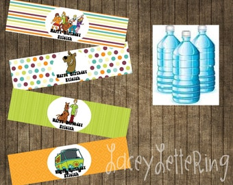 Scooby Doo Water Bottle Wraps or Cupcake Wrappers