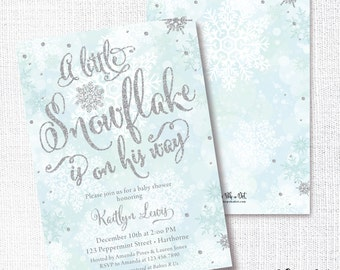 Winter Boy Baby Shower Invitation, Printable,  A Little Snowflake Is On His Way Invite, Blue,  Silver Glitter, Sprinkle, Sip and See, Glam