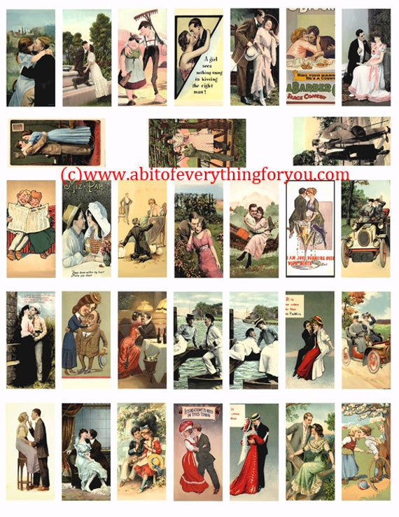 "couples lovers romance vintage postcards art domino collage sheet 1"" x 2"" inch clip art digital download  graphics images pendant printables"