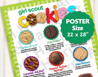 2018 ABC Girl Scout Cookie Price List GS Booth Decor POSTER Size 22 x 28 Printable Menu Banner 2 Versions for Lots of Cookies Sales!!