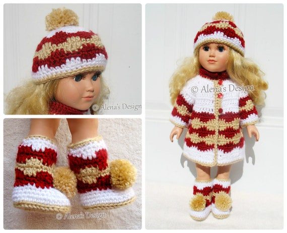 Crochet Pattern 3 PC Set for 18 in Doll American Doll Crochet Patterns 18 inch Doll Clothes Jacket Boots Pom-Pom Hat Christmas Gift for Girl