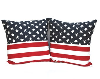 Two patriotic pillow covers, cushion, decorative throw pillow, decorative pillow, accent pill
