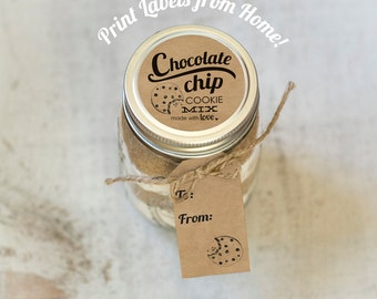 Cookie Mix Print at home labels and tags for homemade mason jar gifts printable faux kraft rustic gift tags and top label chocolate chip kit