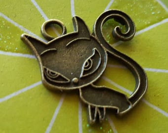 Bronze Cat Charms - 10 pc. - Cats Charms - Kitty Charms - Bronze Cats - Bronze Kitty Charms -  Animal Charms