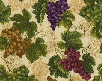 Timeless Treasures -Evie C6312 Natural Grapes-CT121735- 100% Quality Cotton by the Yard or Yardage