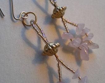 Artisan Rose Quartz  and 14kt Gold filled long dangle Earrings