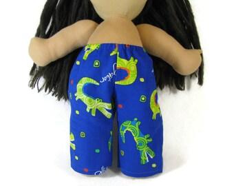 14, 15 inch doll clothing, blue green corduroy alligator pants