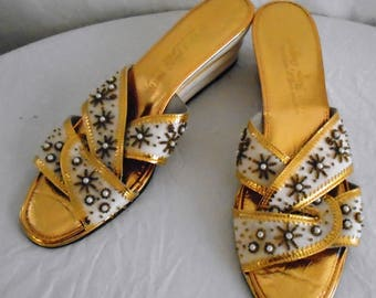 Vintage 1960s Shoes Gold and White Slides Beaded Mod Summer Shoes Size 8